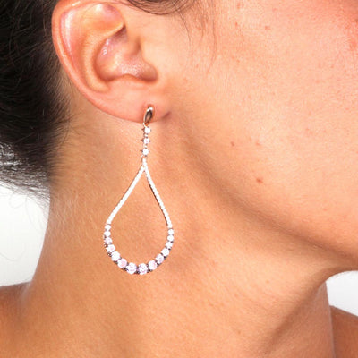 Rose Gold Over 925 Sterling Silver Pink Zirconia Pave Teardrop Earrings - www.LaBellaDentro.com