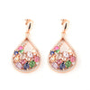 Rose Gold Over 925 Sterling Silver Teardrop Zirconia Cluster Earrings - www.LaBellaDentro.com