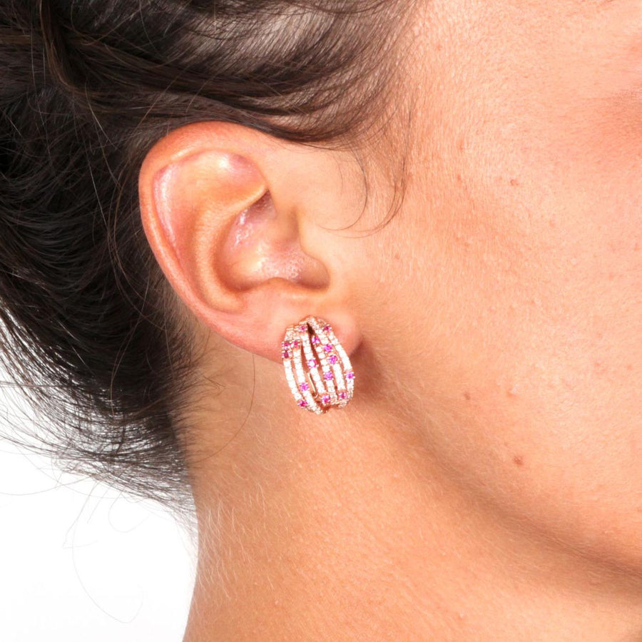 Rose Gold Over 925 Sterling Silver Multi-Row Pave Hoop Earrings-Red - www.LaBellaDentro.com