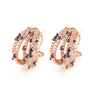 Rose Gold Over 925 Sterling Silver Multi-Row Pave Hoop Earrings-Blue - www.LaBellaDentro.com