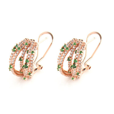 Rose Gold Over 925 Sterling Silver Multi-Row Pave Hoop Earrings- Green - www.LaBellaDentro.com