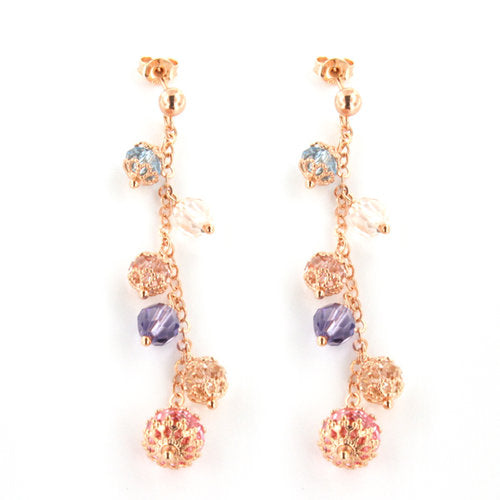 ROSE GOLD OVER SILVER TEARDROP MULTICOLORED SWAROVSKI CRYSTAL EARRINGS - www.LaBellaDentro.com