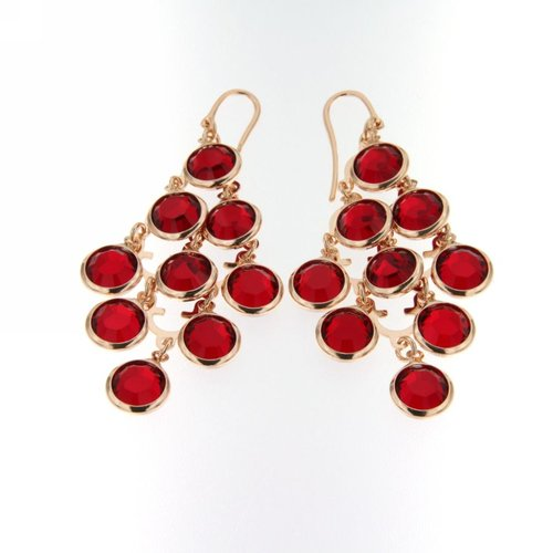 ROSE GOLD OVER SILVER RED SWAROVSKI CRYSTAL CHANDELIER EARRINGS - www.LaBellaDentro.com