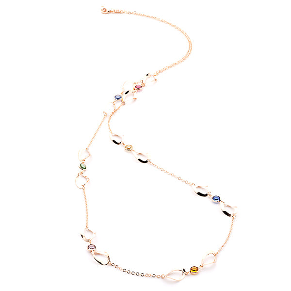 LONG LINK STATEMENT NECKLACE IN ROSE GOLD WITH SWAROVSKI CRYSTALS - www.LaBellaDentro.com