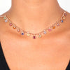 ROSE GOLD OVER SILVER BEADED NECKLACE WITH SHAKY SWAROVSKI CRYSTALS - www.LaBellaDentro.com