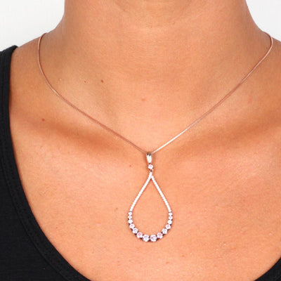 Rose Gold Over 925 Sterling Silver Pink Zirconia Pave Necklace - www.LaBellaDentro.com