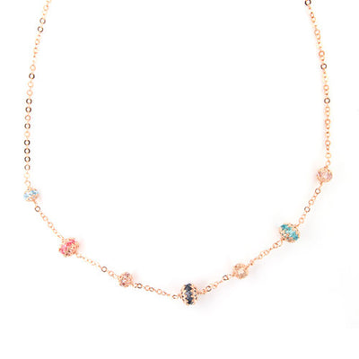 ROSE GOLD OVER SILVER WRAPPED MULTICOLORED SWAROVSKI CRYSTAL NECKLACE - www.LaBellaDentro.com