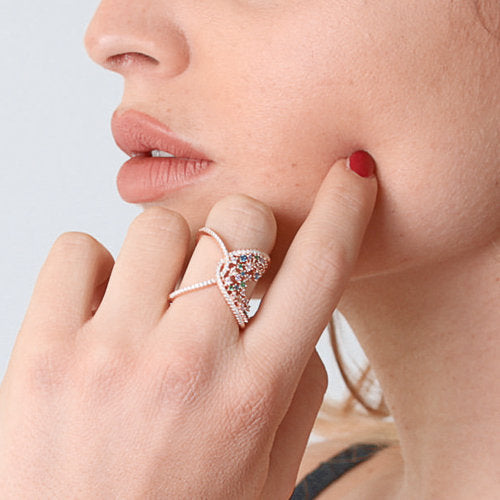 ROSE GOLD OVER SILVER CROSSOVER RING WRAPPED IN MULTICOLORED CUBIC ZIRCONIA - www.LaBellaDentro.com
