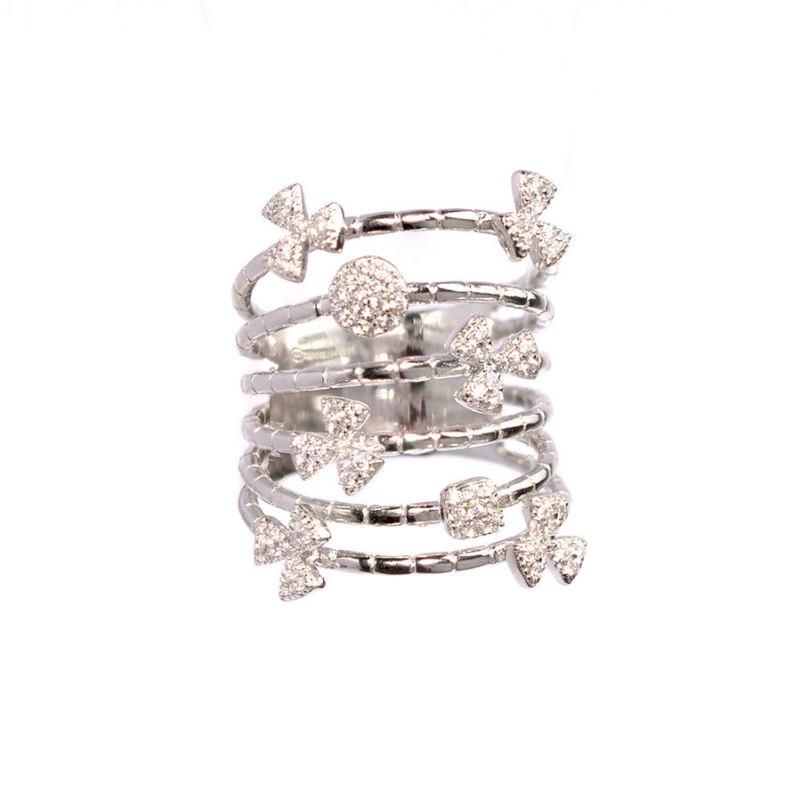 Simeone 925 Sterling Silver Multi-Row Ring with Cubic Zirconia - www.LaBellaDentro.com