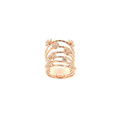 SIMEONE Rose Gold Plated over 925 Sterling Silver Multi-Row Ring - www.LaBellaDentro.com