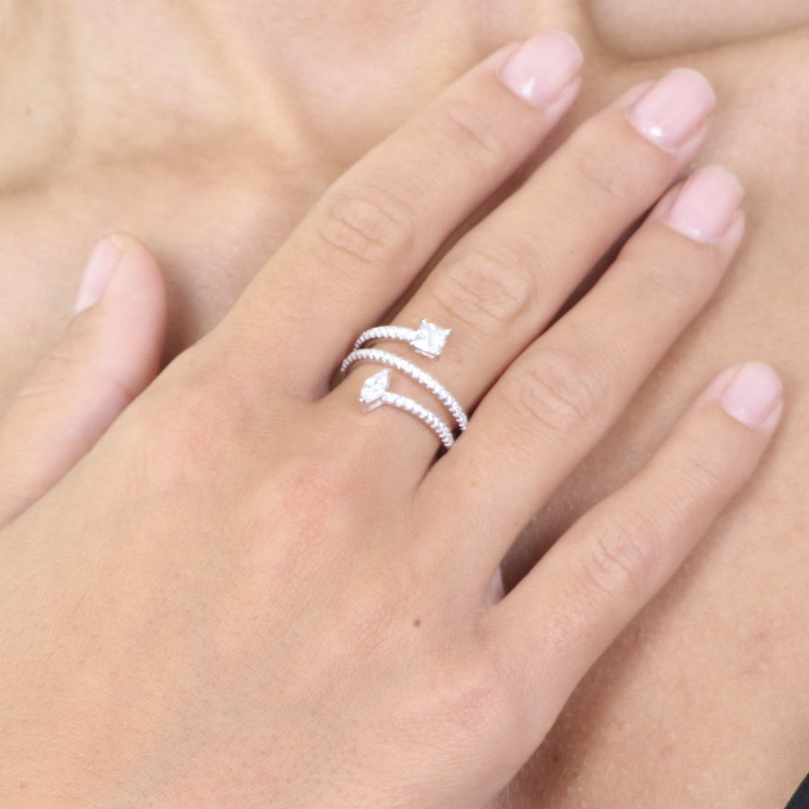 BRUGES TWO-STONE BYPASS RING IN 925 STERLING SILVER - www.LaBellaDentro.com