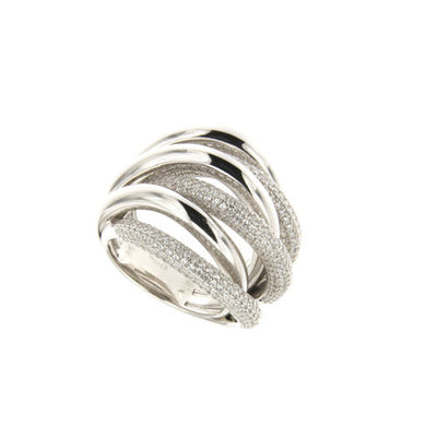 BRUGES OVERLAP RING IN 925 STERLING SILVER WITH CUBIC ZIRCONIA - www.LaBellaDentro.com