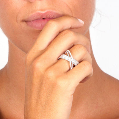 Mykonos Crossover Ring In 925 Sterling Silver with Cubic Zirconia - www.LaBellaDentro.com
