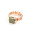 Rose Gold over 925 Sterling Silver Pave Olive Green Stone Ring - www.LaBellaDentro.com