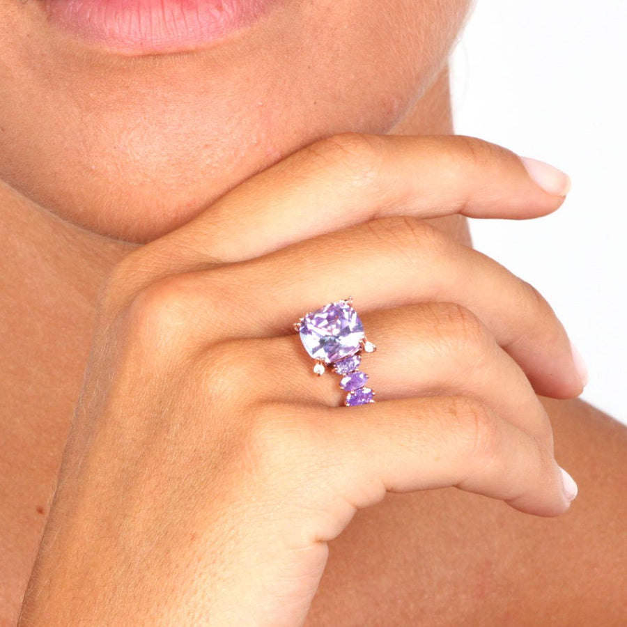 Rose Gold over 925 Sterling Silver Pave Purple Stone Ring - www.LaBellaDentro.com