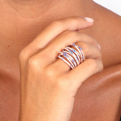 Rose Gold Over 925 Sterling Silver Multi-Row Pave Statement Ring- Blue - www.LaBellaDentro.com