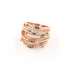 Rose Gold Plated over 925 Sterling Silver Multi-Row Pave Statement Ring- Green - www.LaBellaDentro.com
