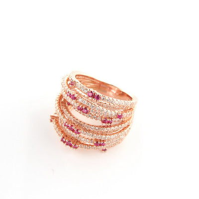 Rose Gold Plated over 925 Sterling Silver Multi-Row Pave Statement Ring- Red - www.LaBellaDentro.com