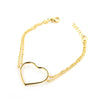 Portofino 18 KT Gold Over Sterling Silver  Double Chain Big Heart Bracelet - www.LaBellaDentro.com