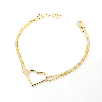 Portofino 18 KT Gold Over Sterling Silver  Double Chain Small Heart Bracelet - www.LaBellaDentro.com