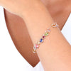 ROSE GOLD OVER SILVER BEADED BRACELET WITH SHAKY SWAROVSKI CRYSTALS - www.LaBellaDentro.com