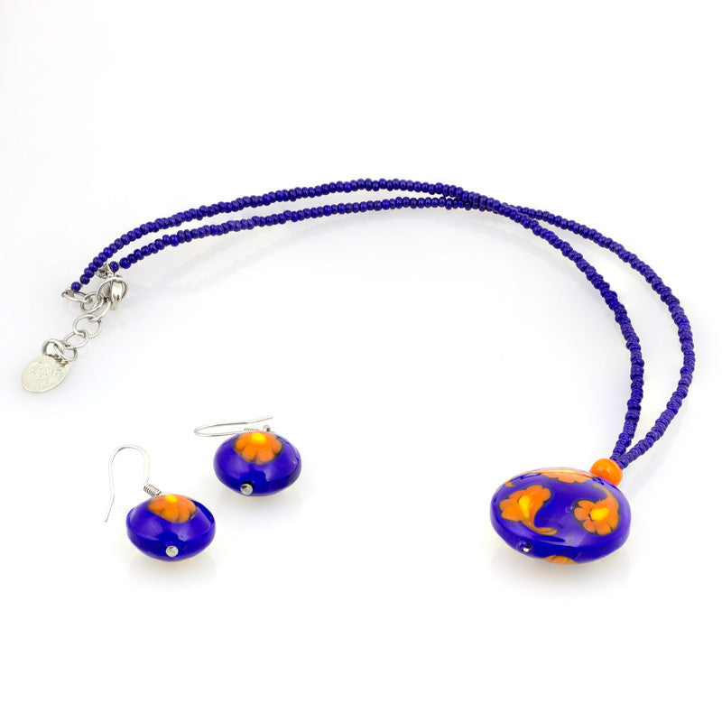 ARIANA- Orange and Blue Millefiori Set - www.LaBellaDentro.com