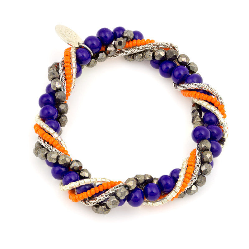 BIA -  Multi–Strand Murano Glass Bracelet, Orange and Blue - www.LaBellaDentro.com