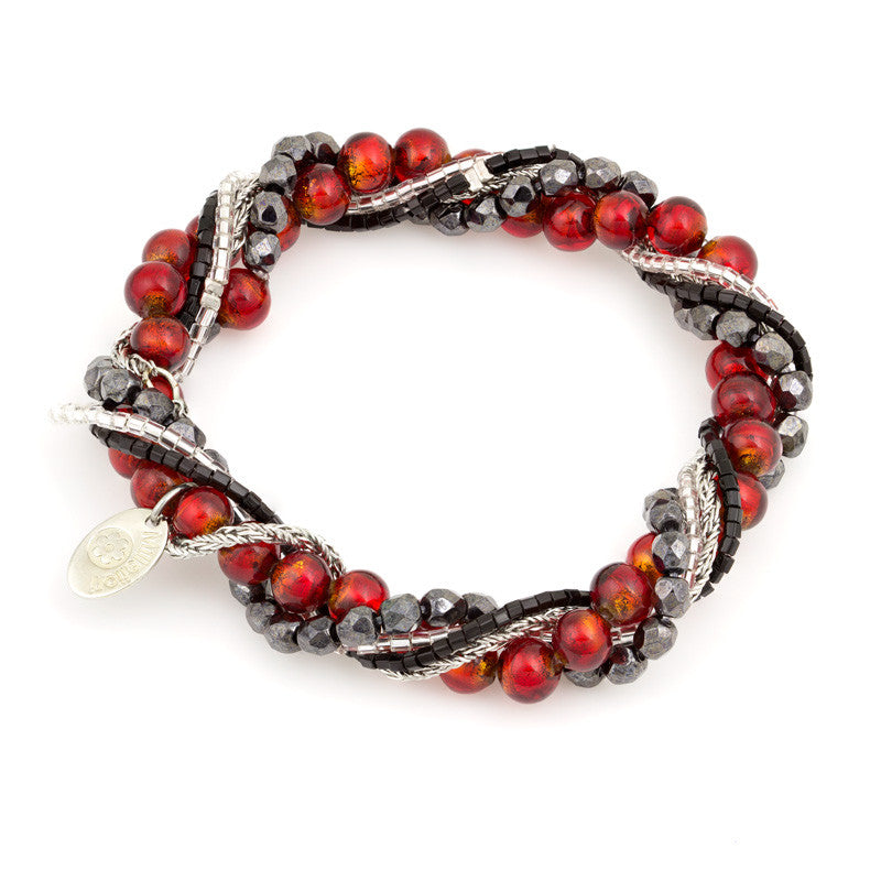 BIA – Multi-Strand Murano Glass Bracelet, Red - www.LaBellaDentro.com