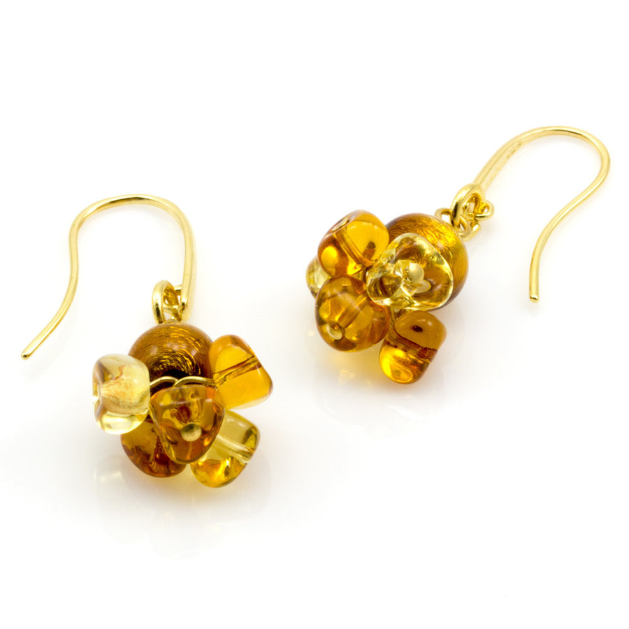 BLISS - Murano Glass Drops Amber color Set with Necklace and Earrings - www.LaBellaDentro.com