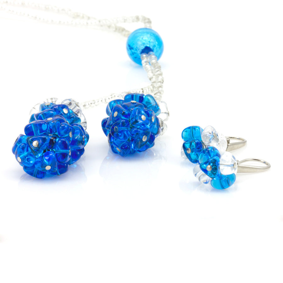 BLISS - Blue and White Murano Glass Drops Blue and White Set with Necklace and Earrings - www.LaBellaDentro.com