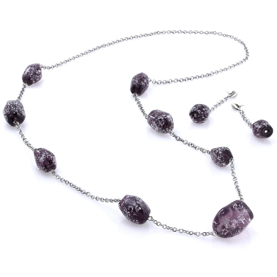 CAMILA - Purple Murano Glass Stone Jewelry Set - www.LaBellaDentro.com