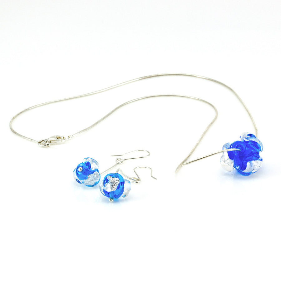 CHANEL – Blue Sterling Silver and Murano Glass Flower Bud Set - www.LaBellaDentro.com