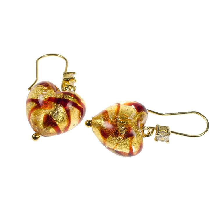 CHERRY – Sterling Silver Murano Glass Heart Earrings - www.LaBellaDentro.com
