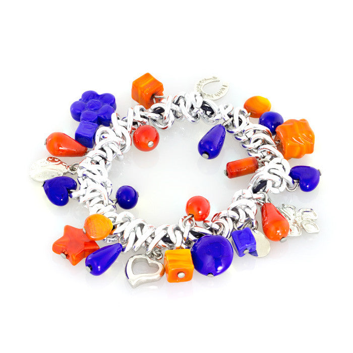 DALIA – Murano Glass Orange and Blue Charm Bracelet - www.LaBellaDentro.com