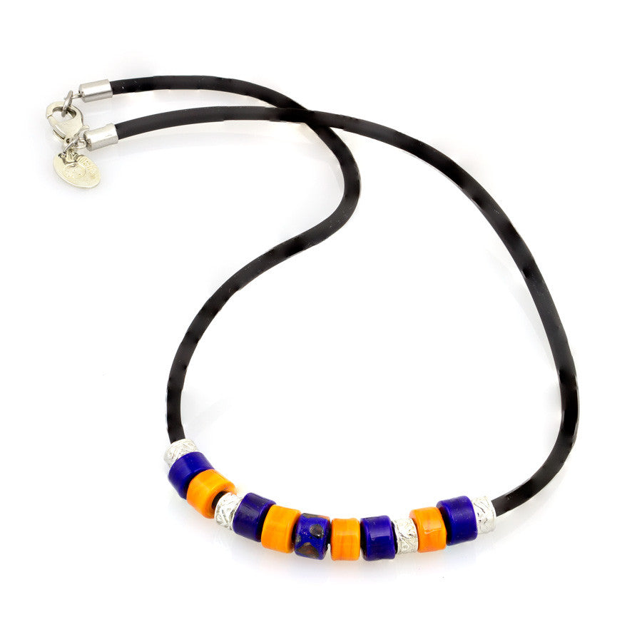 DEMIS – Unisex Orange and Blue Murano Glass Bead Necklace - www.LaBellaDentro.com