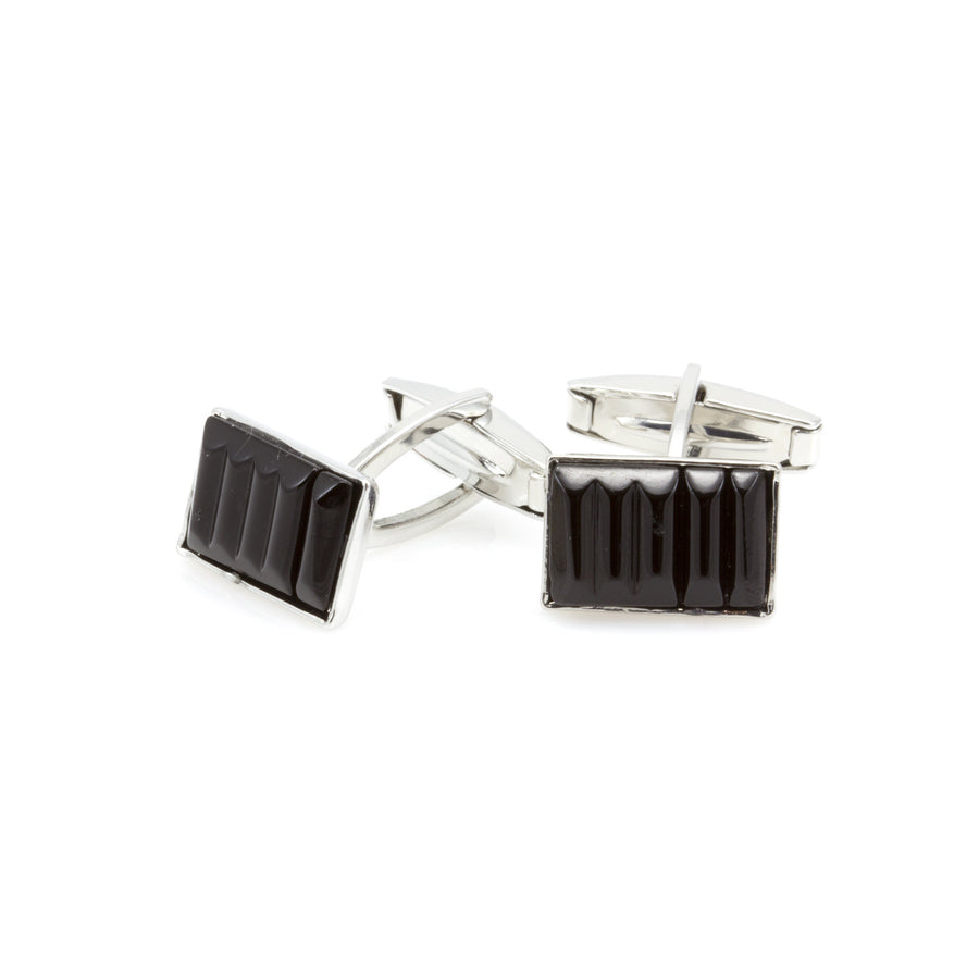 DYLAN- Murano Glass Cufflinks in Black - www.LaBellaDentro.com