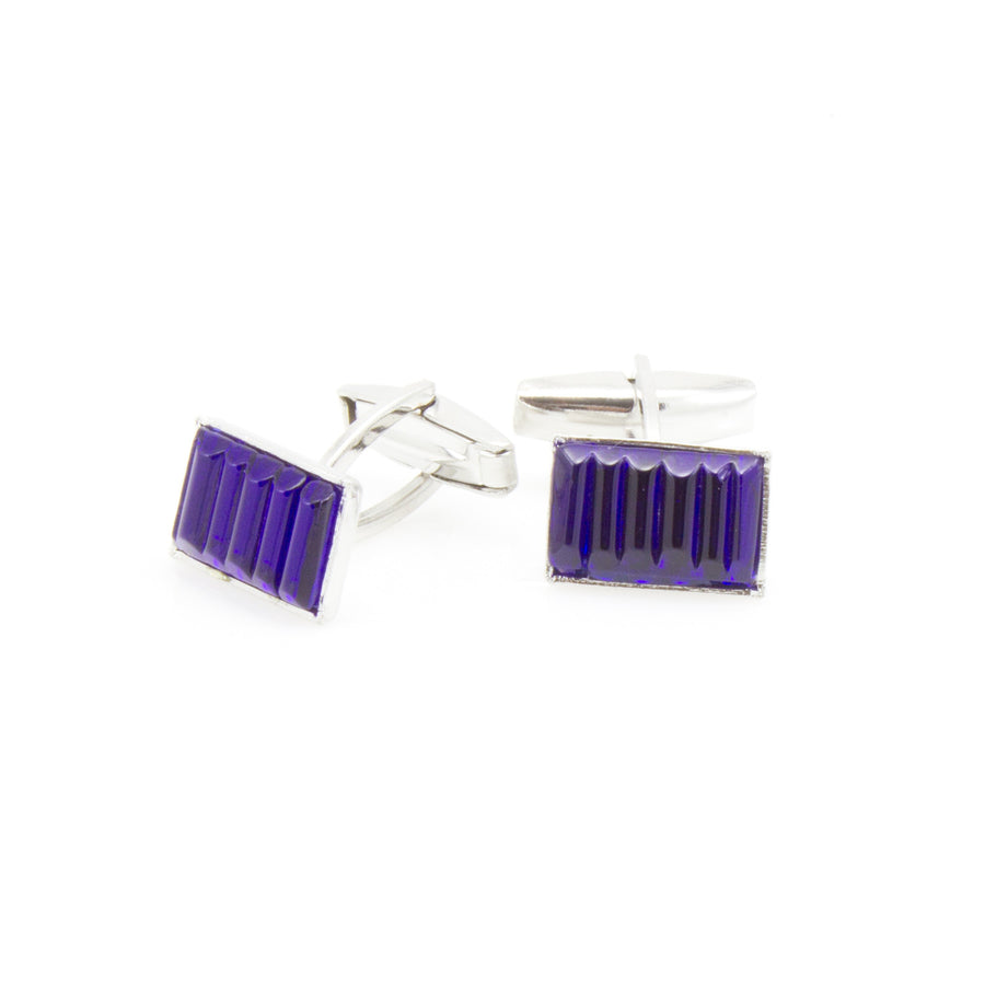 DYLAN -	Murano Glass Cufflinks in Dark Blue - www.LaBellaDentro.com