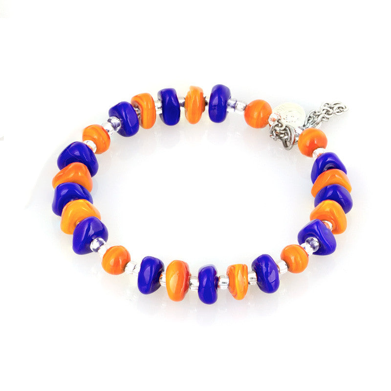 ELZA – Murano Glass Drops Set with Earrings and Bracelet, Orange and Blue - www.LaBellaDentro.com