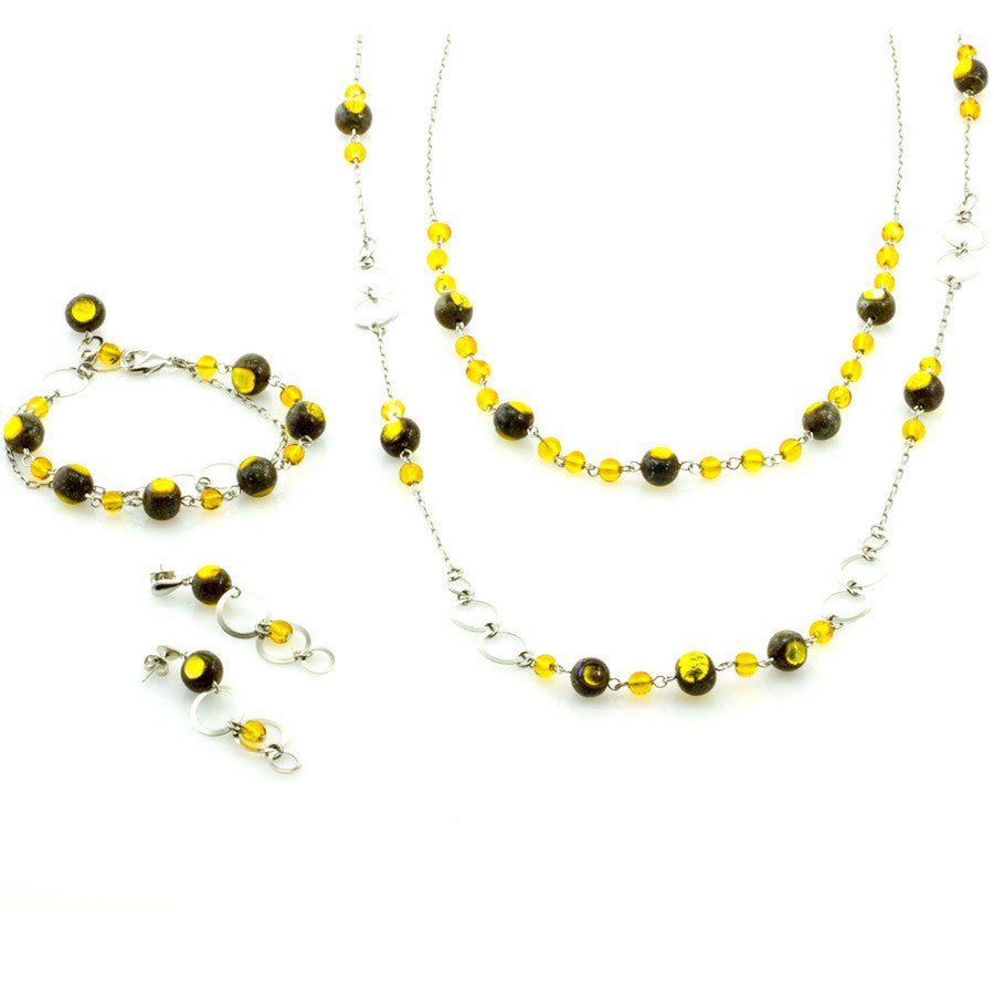 EVELIN-  Double-Strand Gold Murano Glass Bead Set - www.LaBellaDentro.com