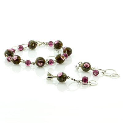 EVELIN-  Double-Strand Purple Murano Glass Bead Set - www.LaBellaDentro.com