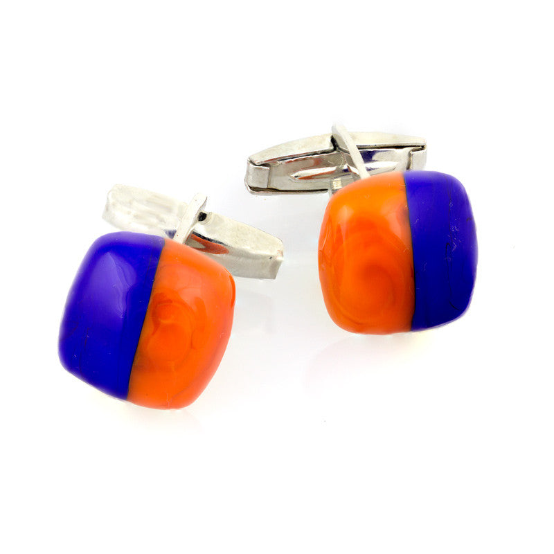 FABRIZIO – Murano Glass Square Cufflinks, Orange and Blue - www.LaBellaDentro.com