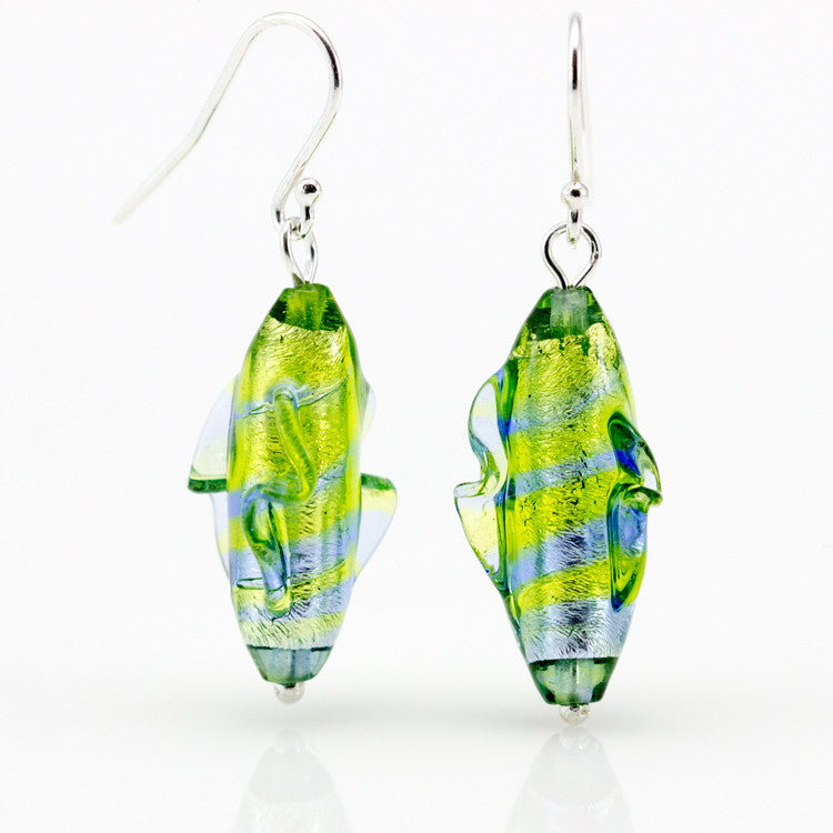 GAIA – Sterling Silver Murano Glass Cylinder Set with Necklace and Earrings - www.LaBellaDentro.com