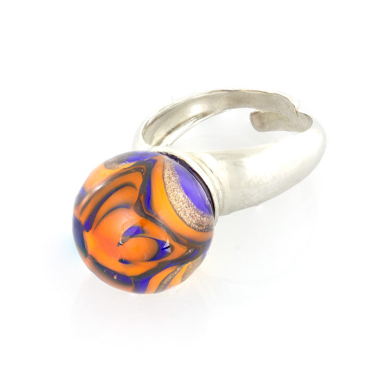 GRAZIA -  Murano Glass Wave Bead Ring, Orange and Blue - www.LaBellaDentro.com