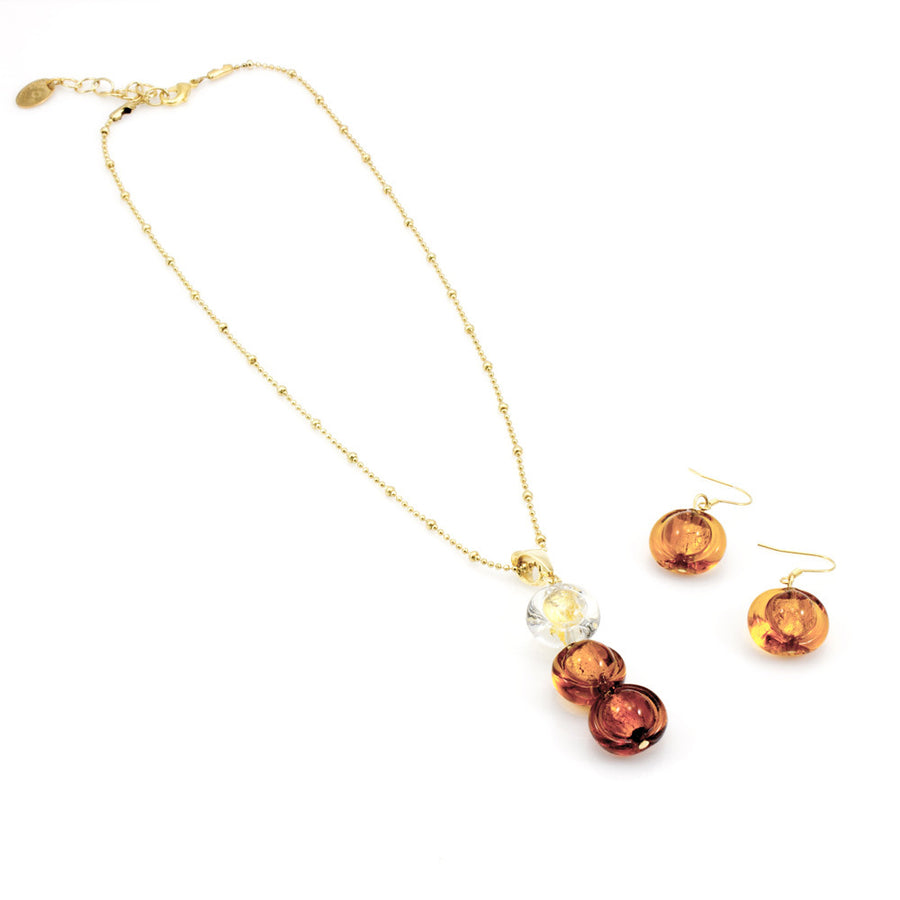 INA – Amber Murano glass beads set with necklace and earrings - www.LaBellaDentro.com