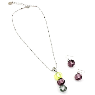 INA – Amethyst Murano glass beads set with necklace and earrings - www.LaBellaDentro.com