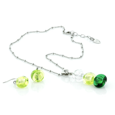 INA – Green Murano glass beads set with necklace and earrings - www.LaBellaDentro.com