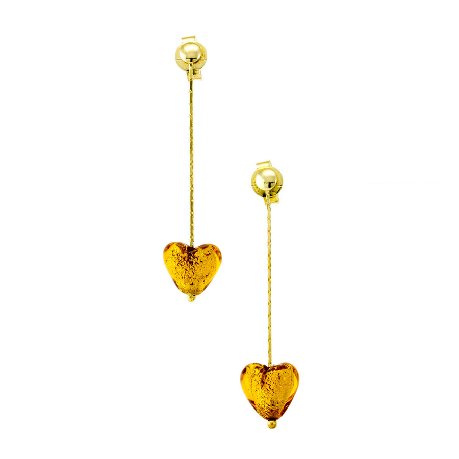 IRIS - Sterling Silver Murano Glass Heart Drop Earrings - www.LaBellaDentro.com