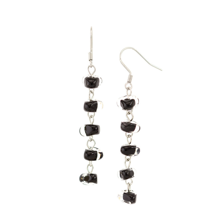 IRMA – Black Murano Glass Long Drops Earrings - www.LaBellaDentro.com