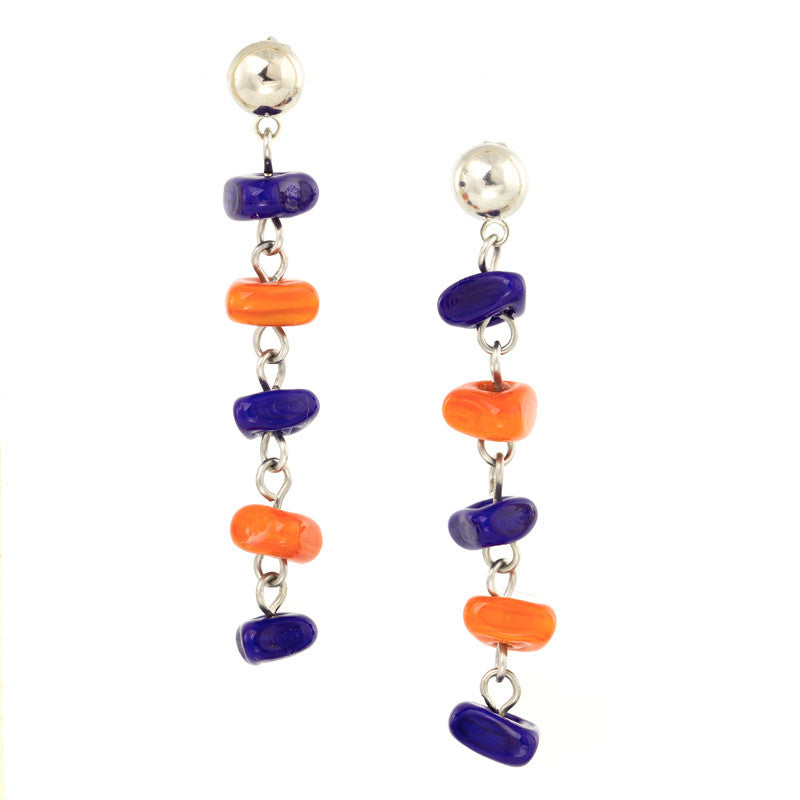 IRMA – Orange and Blue Murano Glass Long Drops Earrings - www.LaBellaDentro.com