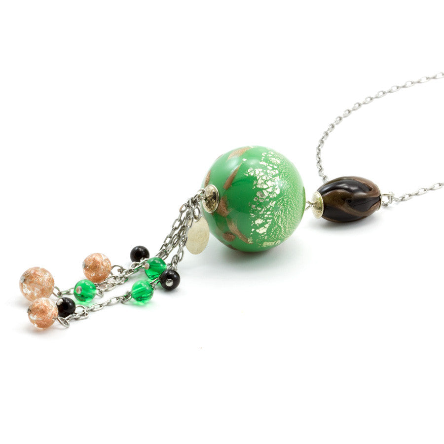 JANET – Green Murano Glass Round Pendant Necklace - www.LaBellaDentro.com